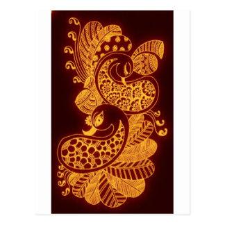 gold mehndi postcard