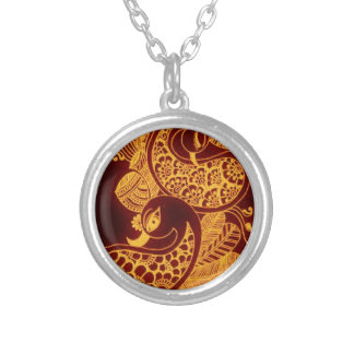 gold mehndi silver plated necklace