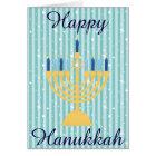 Gold Menorah Happy Hanukkah Card