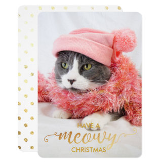 Gold MEOWY Personal Cat Photo Pet Holiday Card