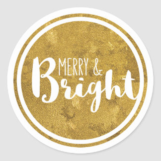 Gold, Merry and Bright Holiday Sticker