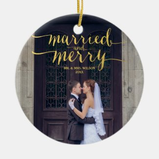 Gold Merry and Married Newlyweds Holiday Photo Ceramic Ornament