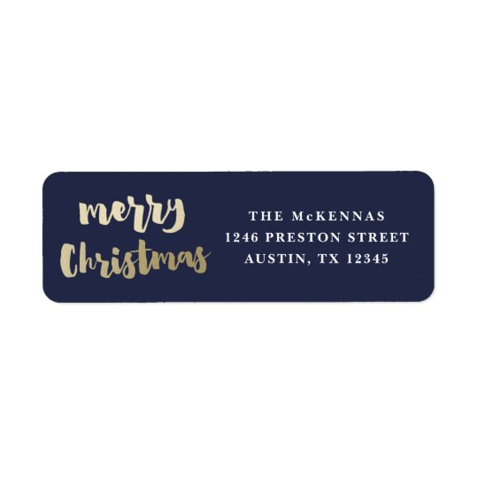 Gold Merry Christmas address label faux foil