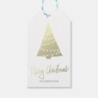 Gold Merry Christmas Modern Script Christmas Tree Pack Of Gift Tags