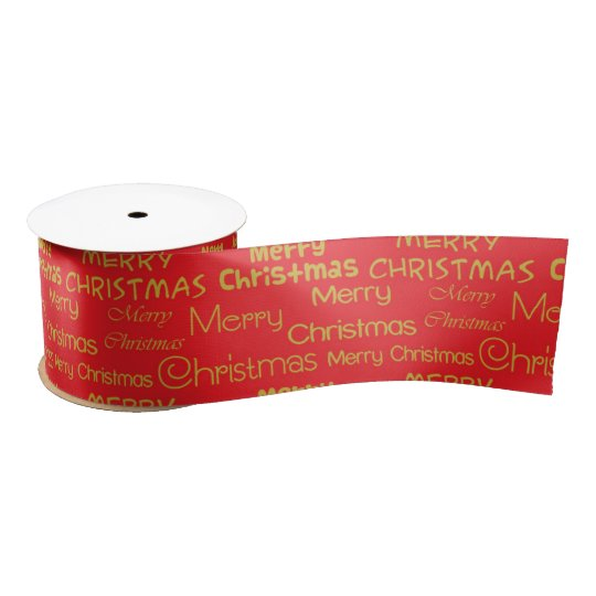 Gold Merry Christmas on a red background Satin Ribbon