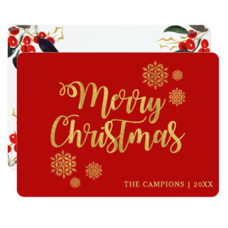 Gold Merry Christmas Script Red Berries Holiday Card