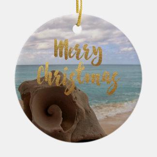 Gold Merry Christmas Seashell Tropical Beach Ceramic Ornament