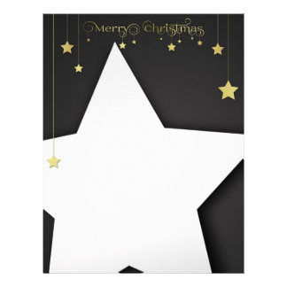 Gold Merry Christmas Stars - Letterhead Stationery