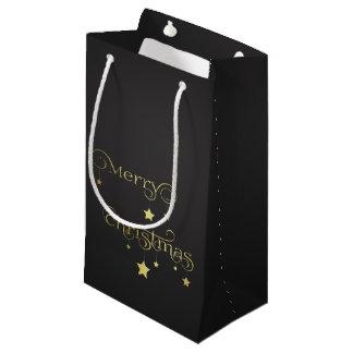 Gold Merry Christmas Stars - Small Gift Bag