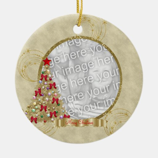 Gold Merry  Christmas Tree Photo Ornament