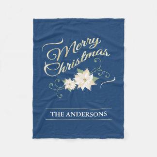 Gold Merry Christmas White Poinsettia Personalized Fleece Blanket