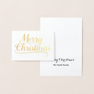 Gold Merry Christmas Word Art Foil Card