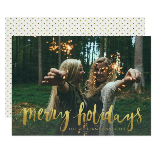 Gold Merry Holidays Modern Christmas Photo Card