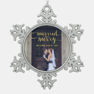 GOLD MERRY & MARRIED   PHOTO HOLIDAY ORNAMENT