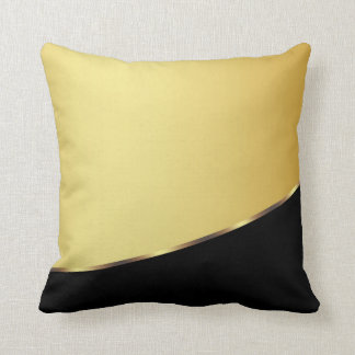 Gold Metal Elegant Modern Black Throw Pillow