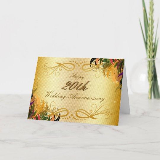 Gold Metal Floral Happy 20th Wedding Anniversary Card Zazzle Ca