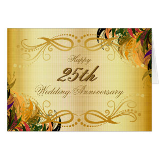 Gold Metal Floral Happy 25th Wedding Anniversary Card