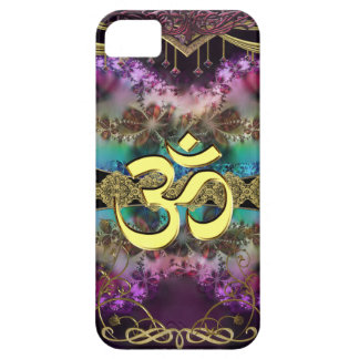 Gold Metal OM-Symbol on Fractal Tapestry Case For The iPhone 5