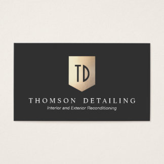 Gold Metal Shield Logo Monogram Auto Body Repair Business Card