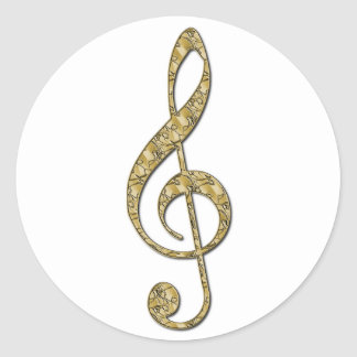 Gold Metal Treble Clef Classic Round Sticker