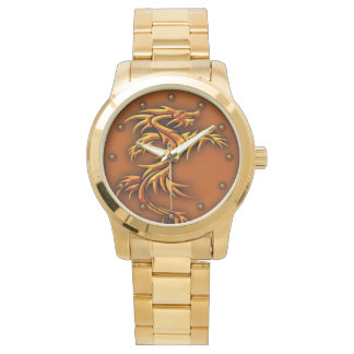 Gold metal watch  with a dragon design