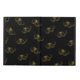Gold Metallic Butterflies On Black iPad Air Cover