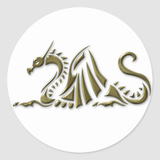 Gold Metallic Dragon Classic Round Sticker