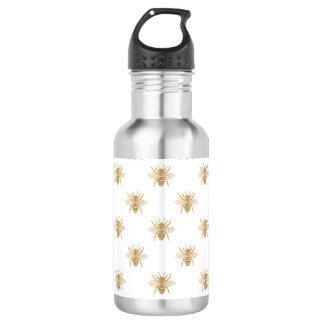 Gold Metallic Faux Foil Photo-Effect Bees on White 532 Ml Water Bottle
