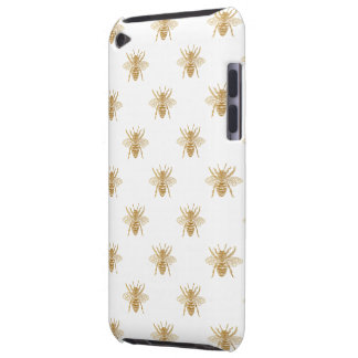 Gold Metallic Faux Foil Photo-Effect Bees on White Barely There iPod Cover