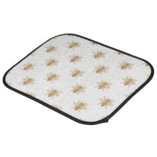 Gold Metallic Faux Foil Photo-Effect Bees on White Car Mat