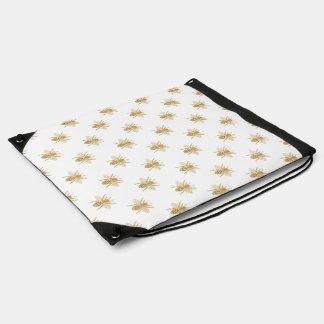 Gold Metallic Faux Foil Photo-Effect Bees on White Drawstring Bag