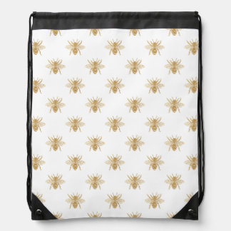 Gold Metallic Faux Foil Photo-Effect Bees on White Drawstring Bag