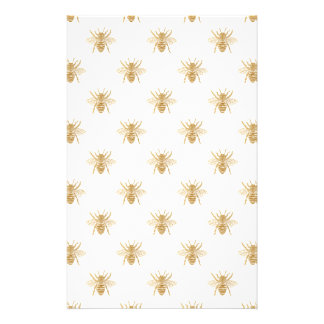 Gold Metallic Faux Foil Photo-Effect Bees on White Flyer