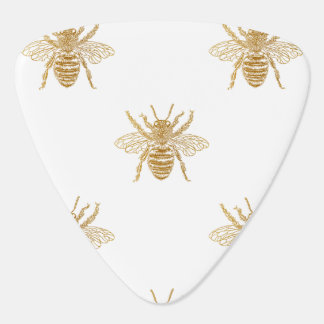 Gold Metallic Faux Foil Photo-Effect Bees on White Guitar Pick