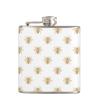 Gold Metallic Faux Foil Photo-Effect Bees on White Hip Flask