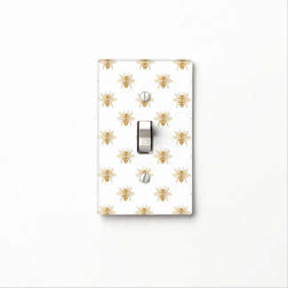 Gold Metallic Faux Foil Photo-Effect Bees on White Light Switch Cover
