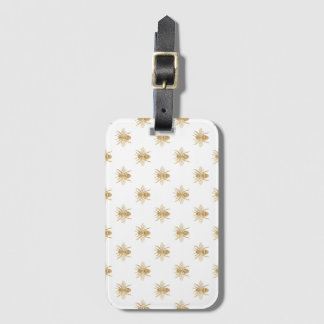 Gold Metallic Faux Foil Photo-Effect Bees on White Luggage Tag