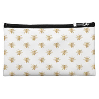 Gold Metallic Faux Foil Photo-Effect Bees on White Makeup Bag