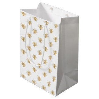 Gold Metallic Faux Foil Photo-Effect Bees on White Medium Gift Bag