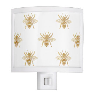 Gold Metallic Faux Foil Photo-Effect Bees on White Nite Light