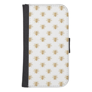 Gold Metallic Faux Foil Photo-Effect Bees on White Samsung S4 Wallet Case