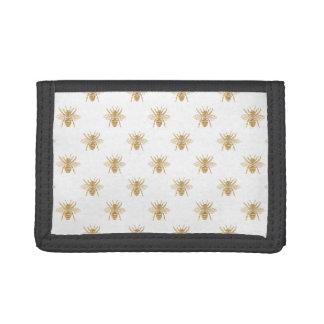 Gold Metallic Faux Foil Photo-Effect Bees on White Tri-fold Wallets