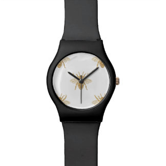 Gold Metallic Faux Foil Photo-Effect Bees on White Watch
