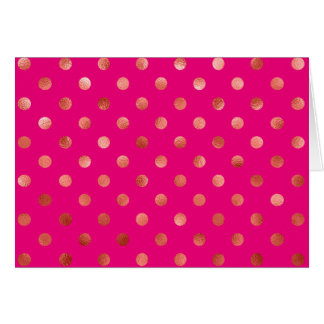 Gold Metallic Faux Foil Polka Dot Pink Background Card