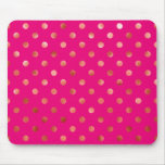 Gold Metallic Faux Foil Polka Dot Pink Background Mouse Pad