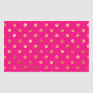 Gold Metallic Faux Foil Polka Dot Pink Background Sticker
