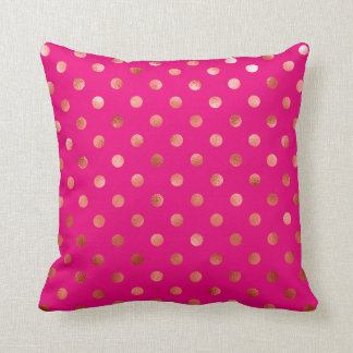 Gold Metallic Faux Foil Polka Dot Pink Background Throw Pillow