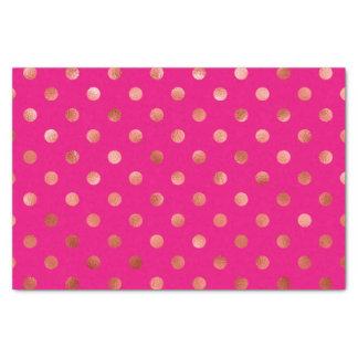Gold Metallic Faux Foil Polka Dot Pink Background Tissue Paper