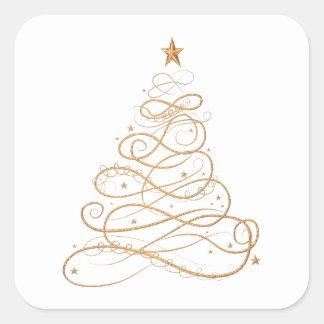 Gold Metallic Filigree Christmas Tree Square Sticker