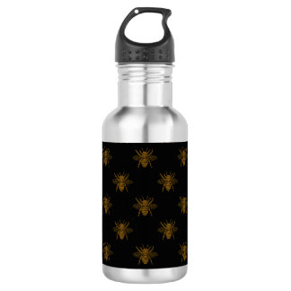 Gold Metallic Foil Bees on Black 532 Ml Water Bottle